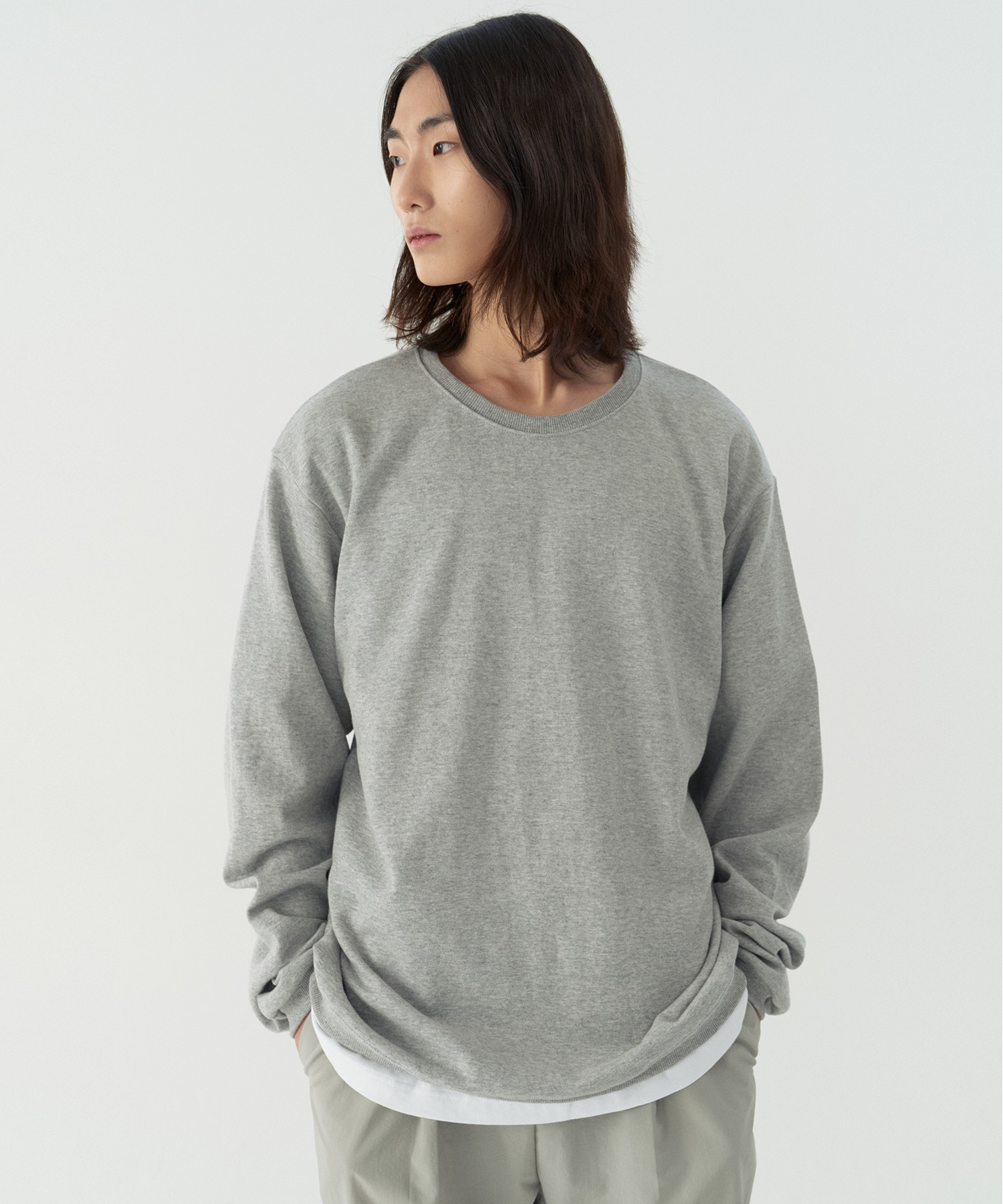 Reconnect Ordinary Loose Fit Sweat Shirts_Melange