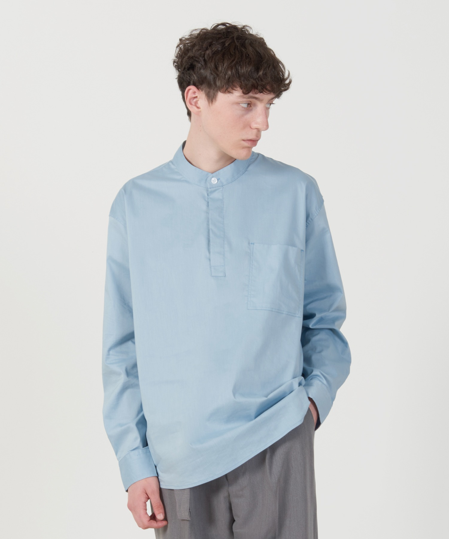 Solid Henly neck Shirt (Sky Blue)