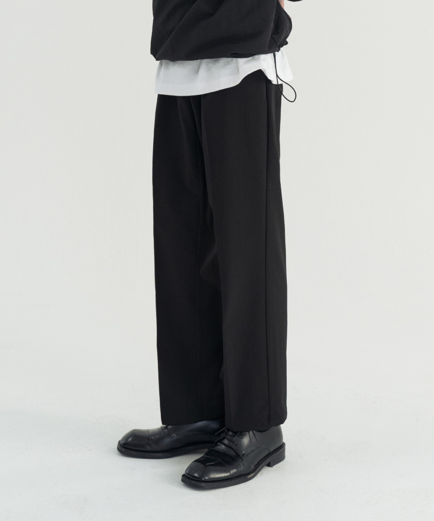 Reconnect Ordinary Wide Belted Tech Slacks_Black