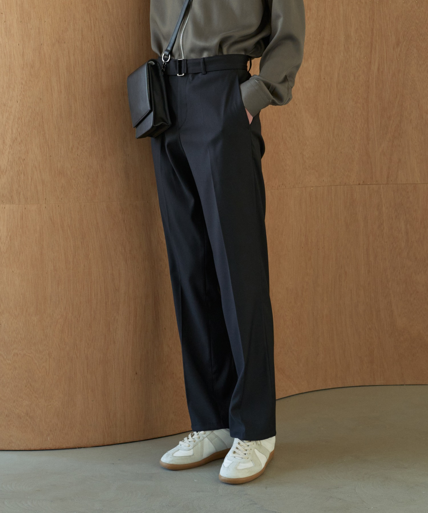 Reconnect Formal Basic Silm Belted Slacks_Black