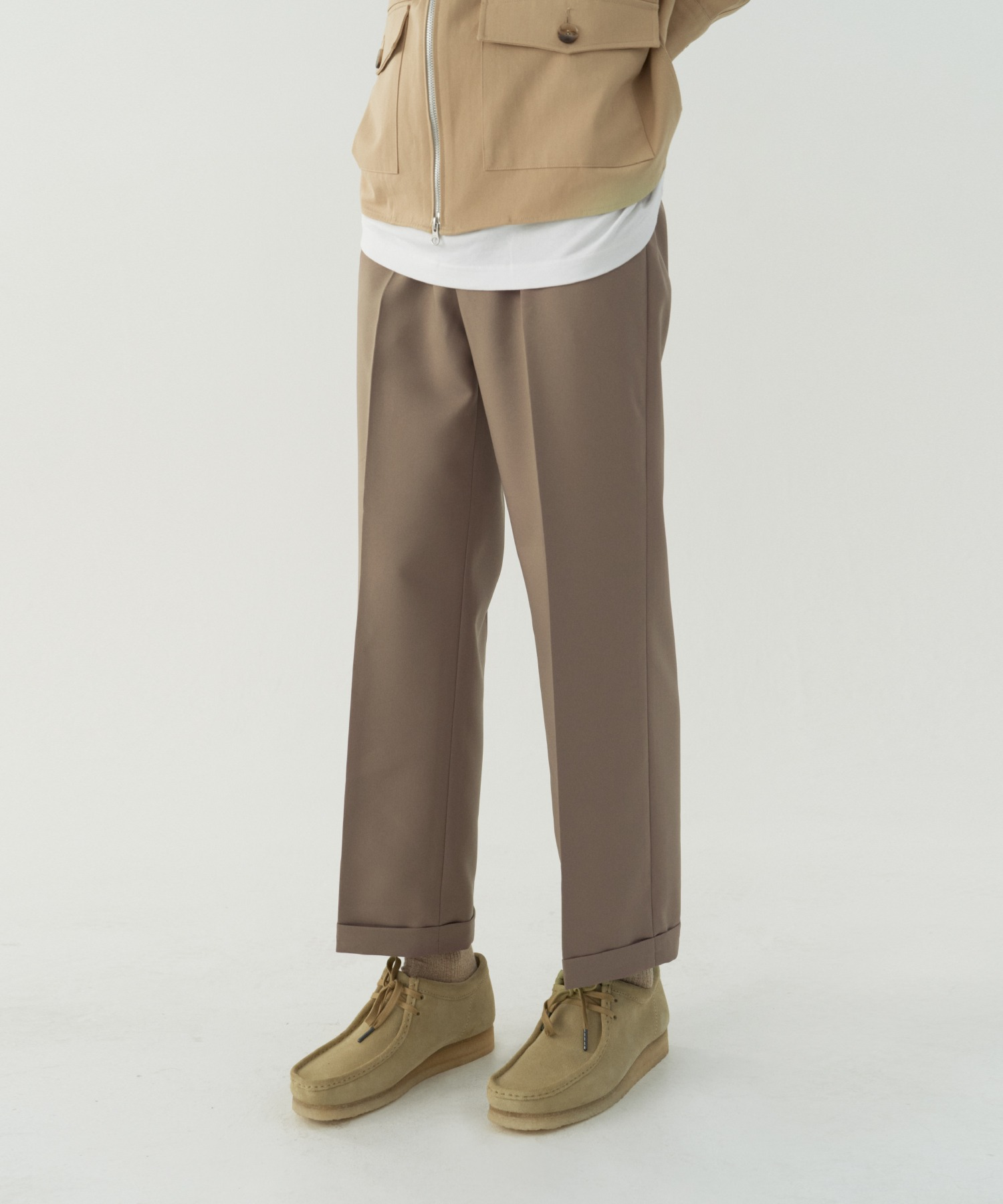 Reconnect Ordinary Turn Up Slacks_Beige