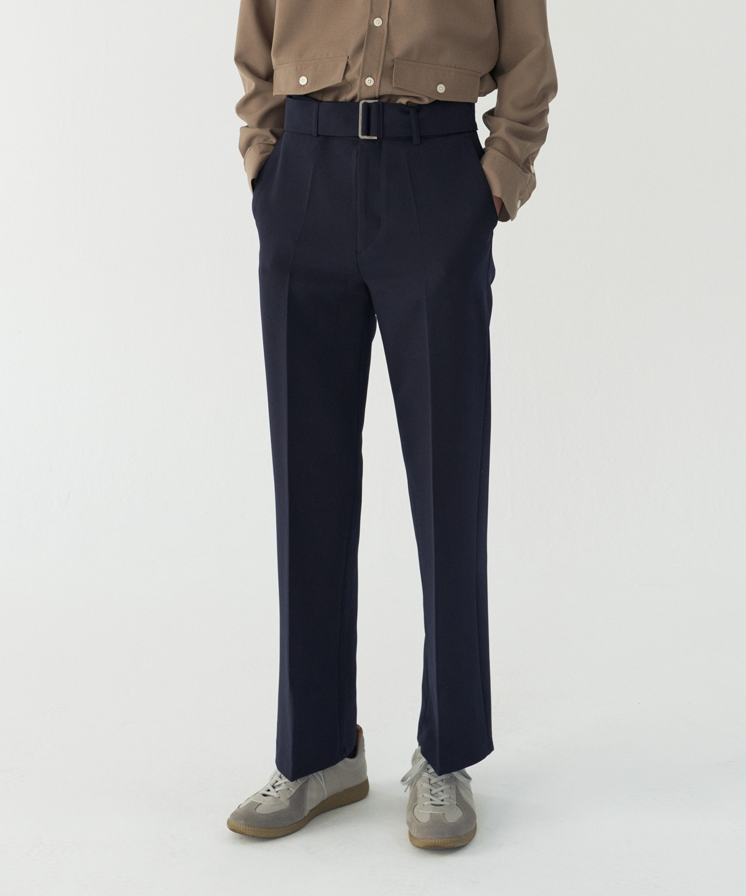 Easy belt wide slacks_Navy